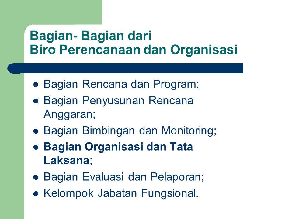 Bagian- Bagian dari Biro Perencanaan dan Organisasi Bagian Rencana dan Program; Bagian Penyusunan Rencana Anggaran; Bagian Bimbingan dan Monitoring; B
