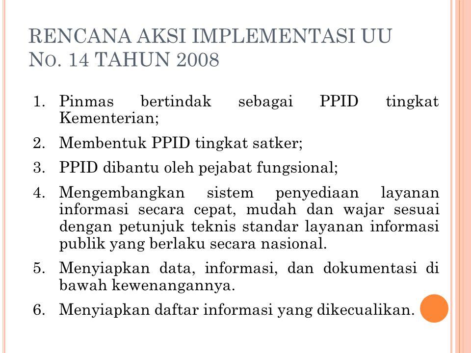 1.Pinmas bertindak sebagai PPID tingkat Kementerian; 2.Membentuk PPID tingkat satker; 3.PPID dibantu oleh pejabat fungsional; 4.Mengembangkan sistem p