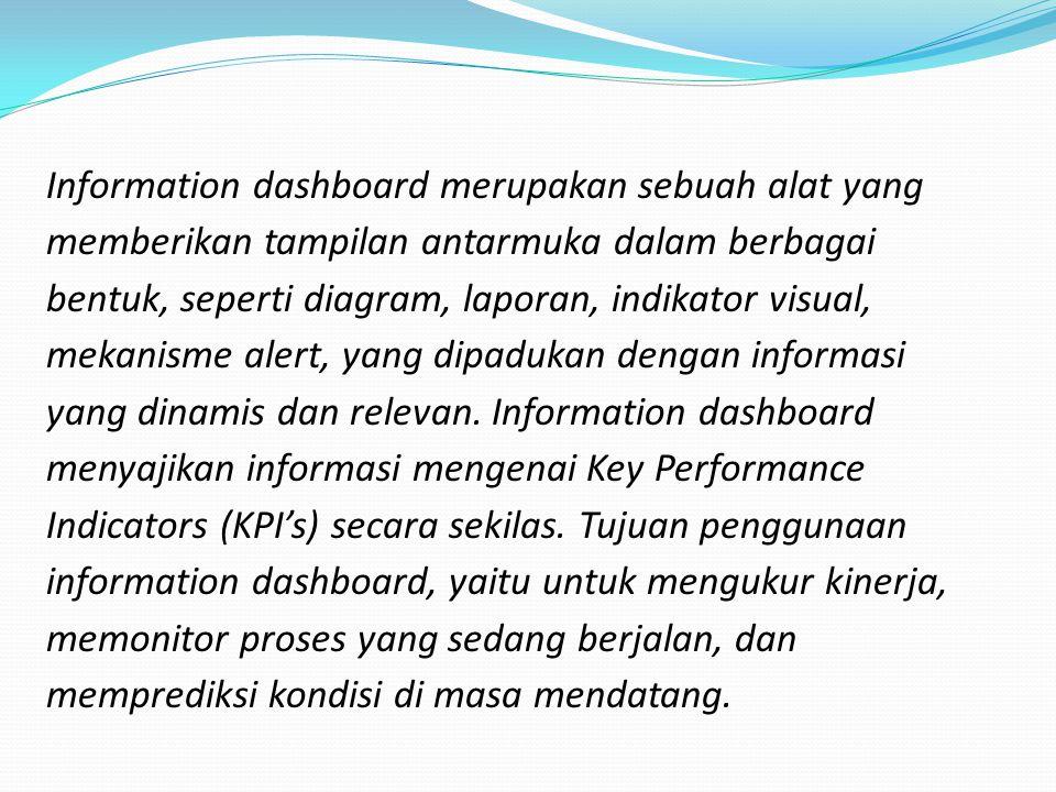 Information dashboard merupakan sebuah alat yang memberikan tampilan antarmuka dalam berbagai bentuk, seperti diagram, laporan, indikator visual, meka