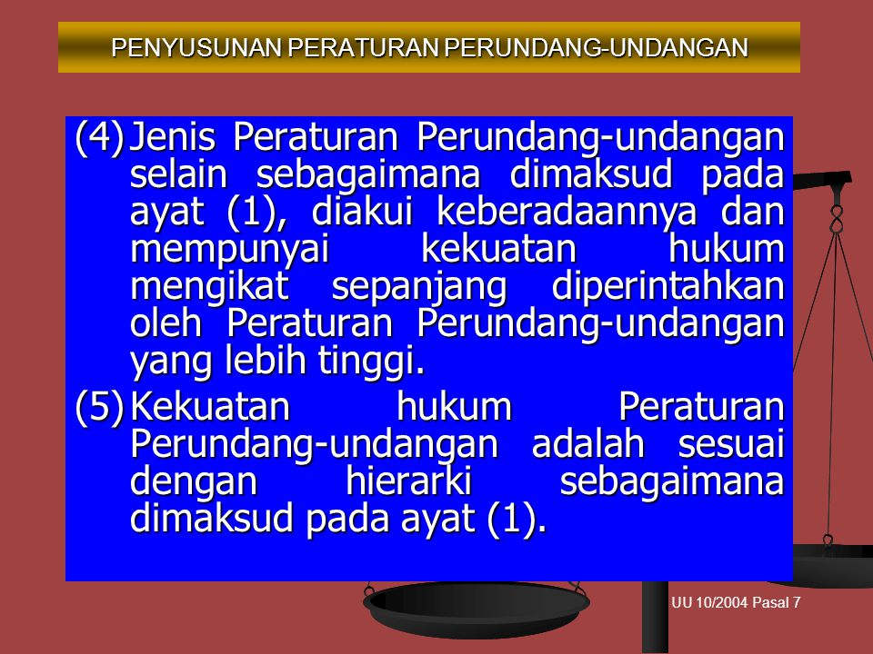 1. UUD Negara RI Tahun 1945 2. Ketetapan MPR 3. Undang-Undang/PERPU 4. Peraturan Pemerintah 5. Peraturan Presiden 6. Peraturan Daerah Provinsi 7. Pera