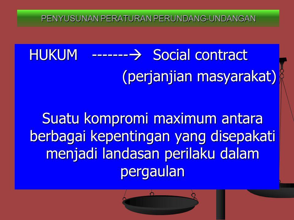 HUKUM -------  Social contract (perjanjian masyarakat) Suatu kompromi maximum antara berbagai kepentingan yang disepakati menjadi landasan perilaku dalam pergaulan PENYUSUNAN PERATURAN PERUNDANG-UNDANGAN