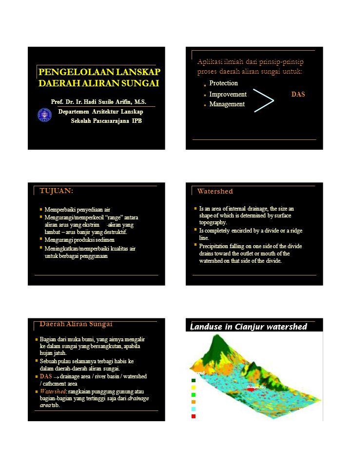 PENGELOLAAN LANSKAP DAERAH ALIRAN SUNGAI Aplikasi ilmiah dari prinsip-prinsip proses daerah aliran sungai untuk: Protection ImprovementDAS Prof. Dr. I