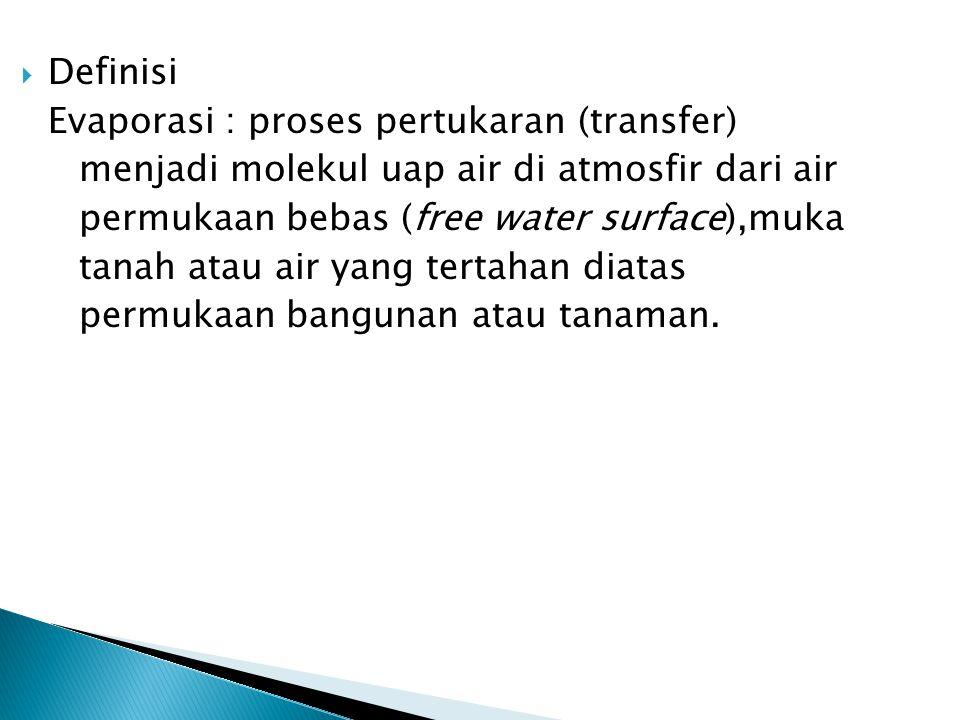  Definisi Evaporasi : proses pertukaran (transfer) menjadi molekul uap air di atmosfir dari air permukaan bebas (free water surface),muka tanah atau