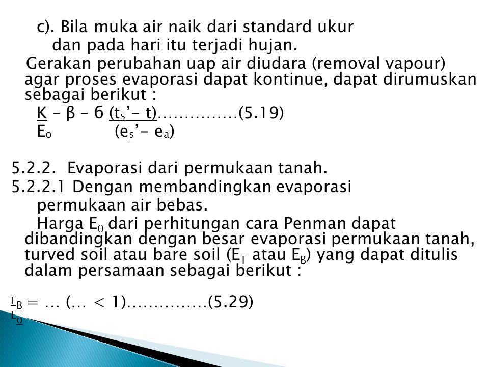 c). Bila muka air naik dari standard ukur dan pada hari itu terjadi hujan. Gerakan perubahan uap air diudara (removal vapour) agar proses evaporasi da
