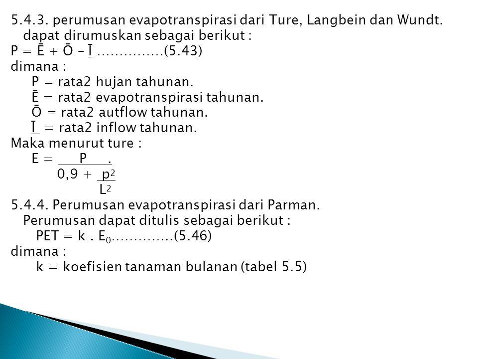 5.4.3. perumusan evapotranspirasi dari Ture, Langbein dan Wundt. dapat dirumuskan sebagai berikut : P = Ē + Ō – Ī ……………(5.43) dimana : P = rata2 hujan