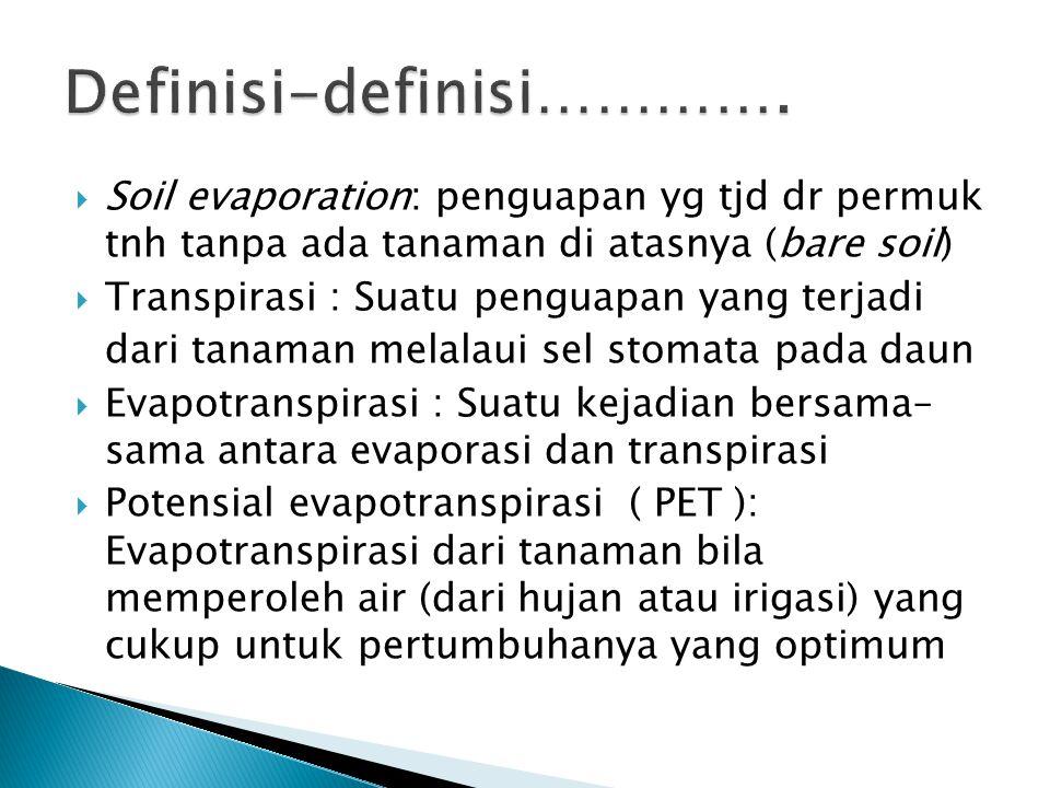  Soil evaporation: penguapan yg tjd dr permuk tnh tanpa ada tanaman di atasnya (bare soil)  Transpirasi : Suatu penguapan yang terjadi dari tanaman