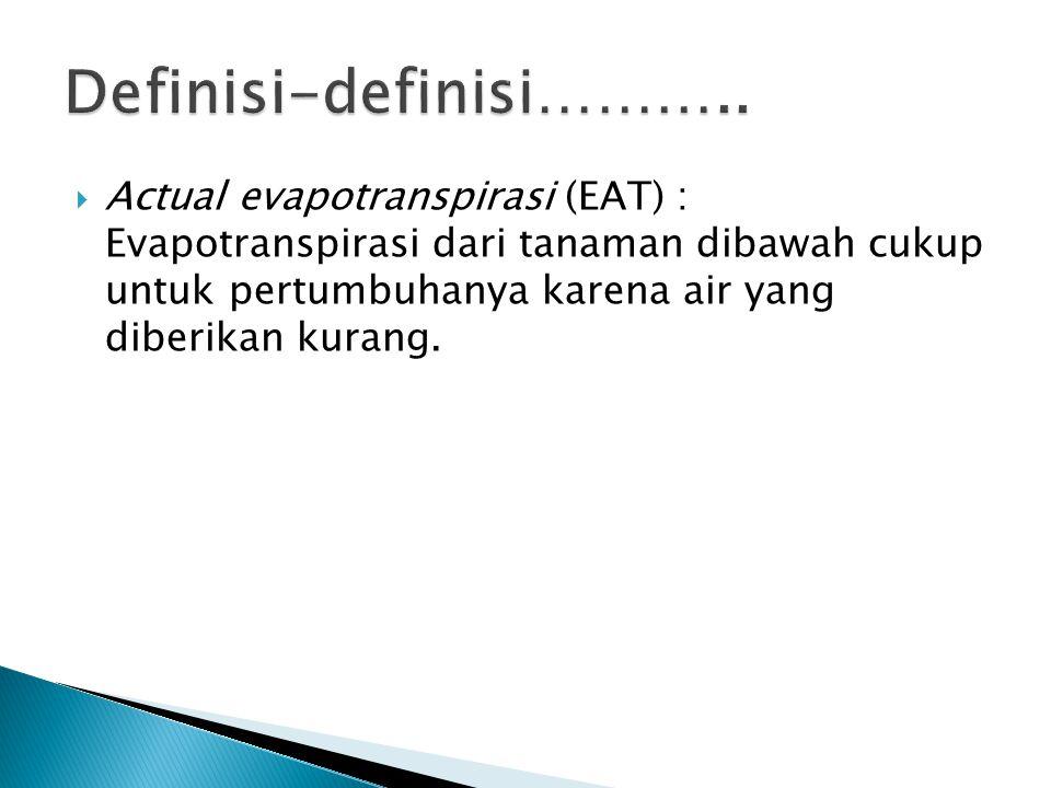  Actual evapotranspirasi (EAT) : Evapotranspirasi dari tanaman dibawah cukup untuk pertumbuhanya karena air yang diberikan kurang.