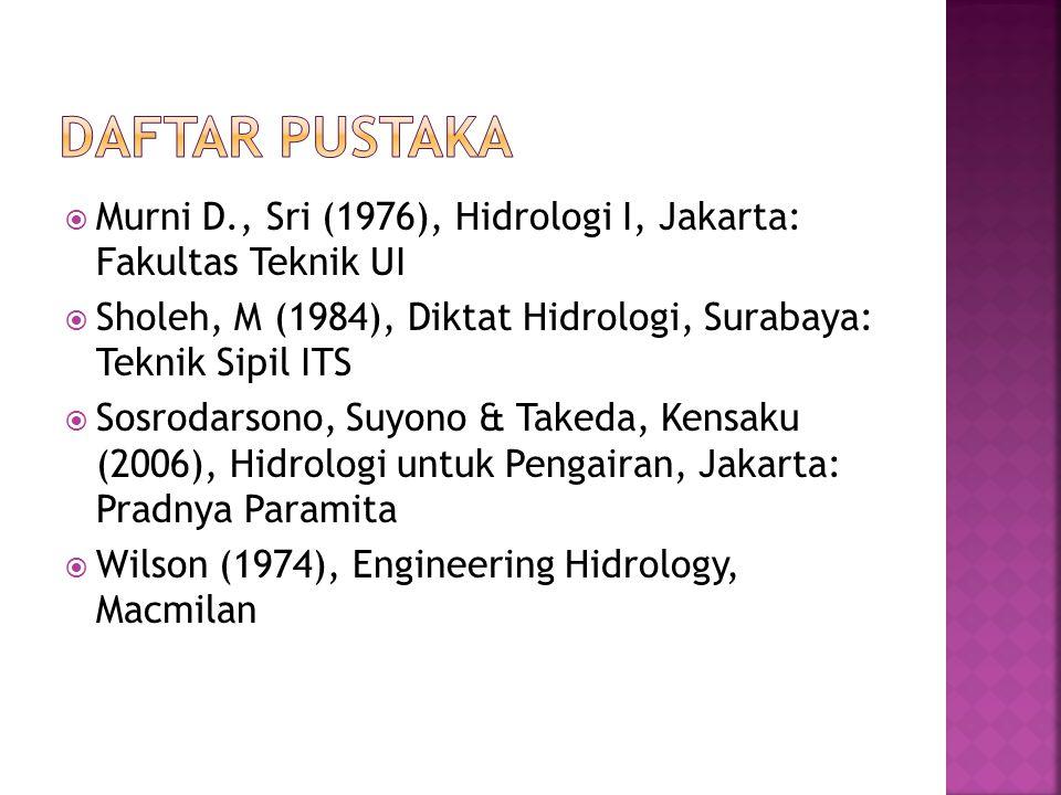 Murni D., Sri (1976), Hidrologi I, Jakarta: Fakultas Teknik UI  Sholeh, M (1984), Diktat Hidrologi, Surabaya: Teknik Sipil ITS  Sosrodarsono, Suyo