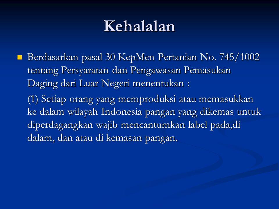 Kehalalan Berdasarkan pasal 30 KepMen Pertanian No.