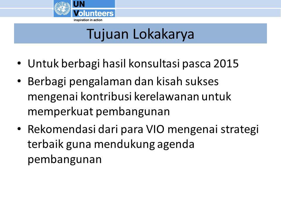 Tujuan Lokakarya Untuk berbagi hasil konsultasi pasca 2015 Berbagi pengalaman dan kisah sukses mengenai kontribusi kerelawanan untuk memperkuat pembangunan Rekomendasi dari para VIO mengenai strategi terbaik guna mendukung agenda pembangunan