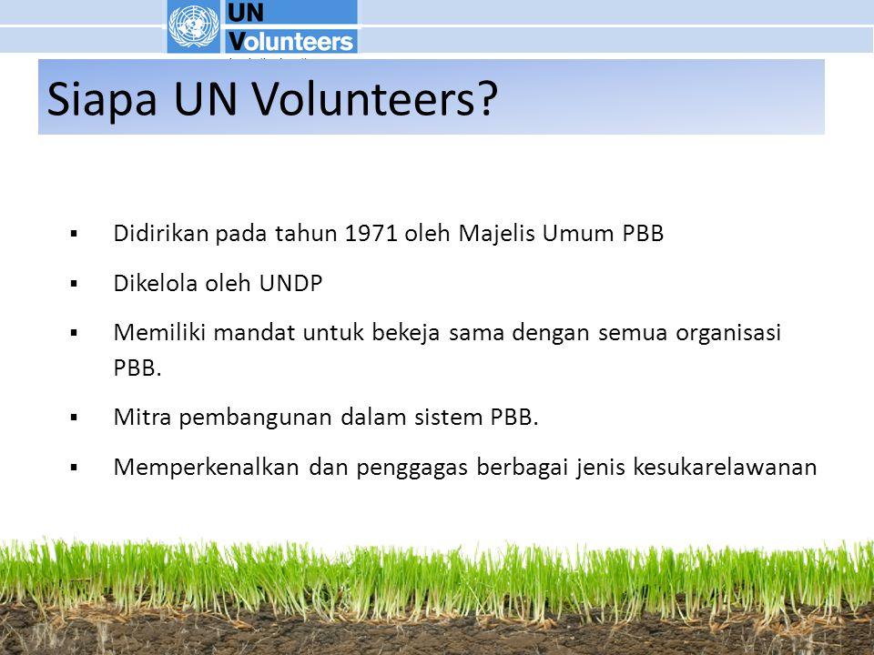  Didirikan pada tahun 1971 oleh Majelis Umum PBB  Dikelola oleh UNDP  Memiliki mandat untuk bekeja sama dengan semua organisasi PBB.