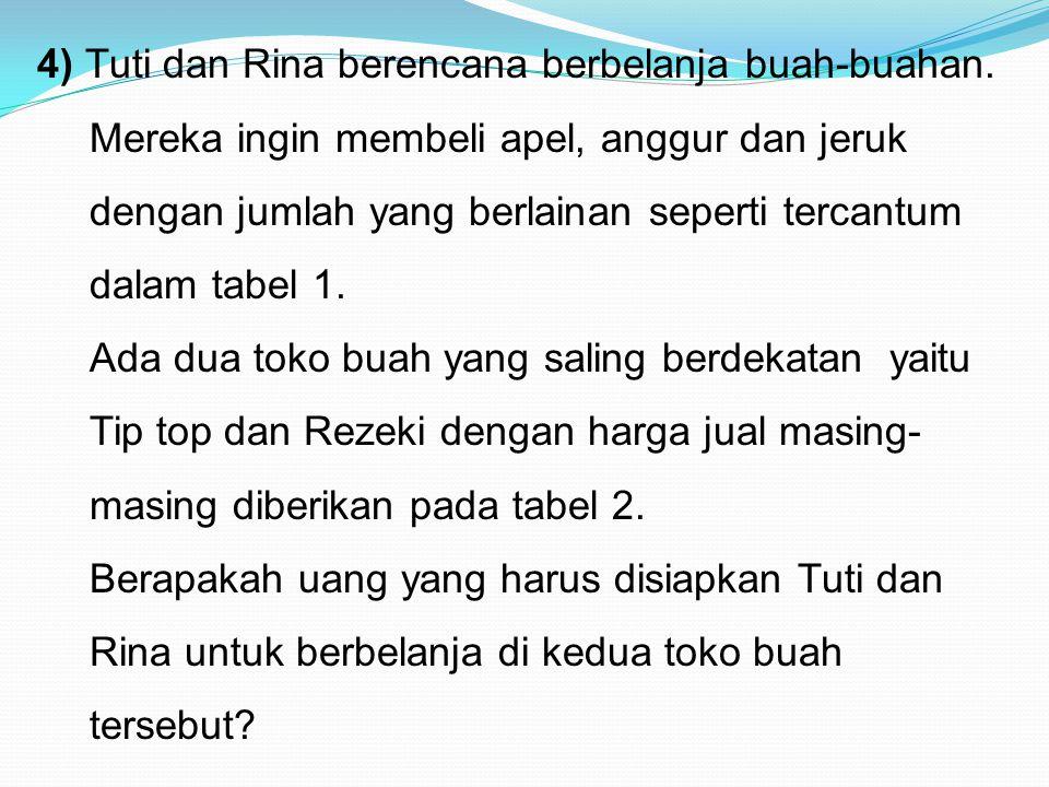 4) Tuti dan Rina berencana berbelanja buah-buahan. Mereka ingin membeli apel, anggur dan jeruk dengan jumlah yang berlainan seperti tercantum dalam ta