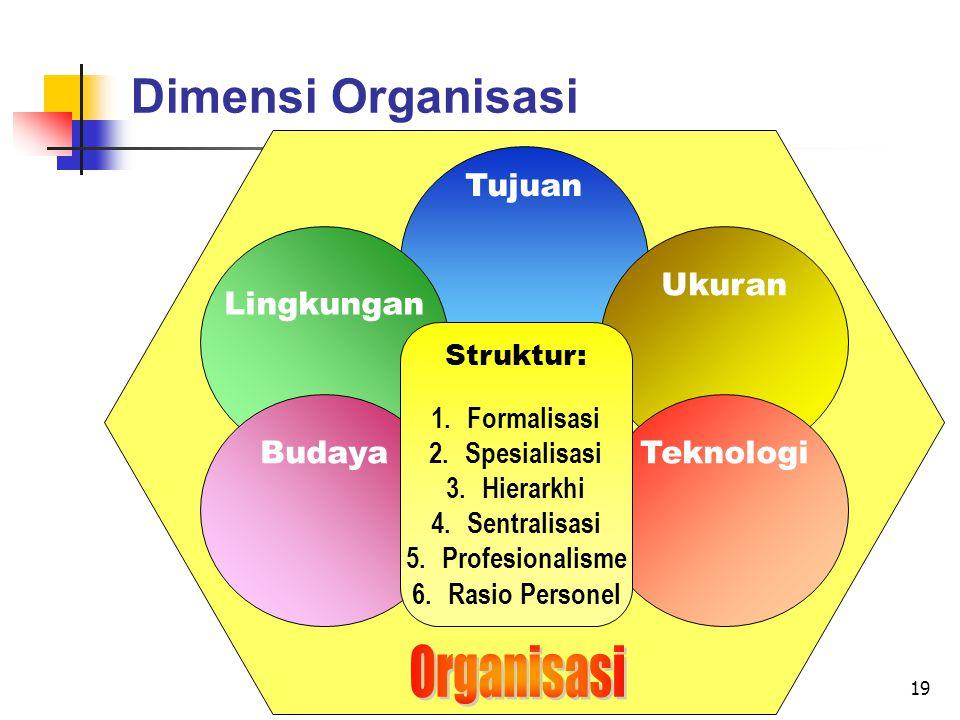 19 Dimensi Organisasi Tujuan Lingkungan Ukuran BudayaTeknologi Struktur: 1.Formalisasi 2.Spesialisasi 3.Hierarkhi 4.Sentralisasi 5.Profesionalisme 6.Rasio Personel