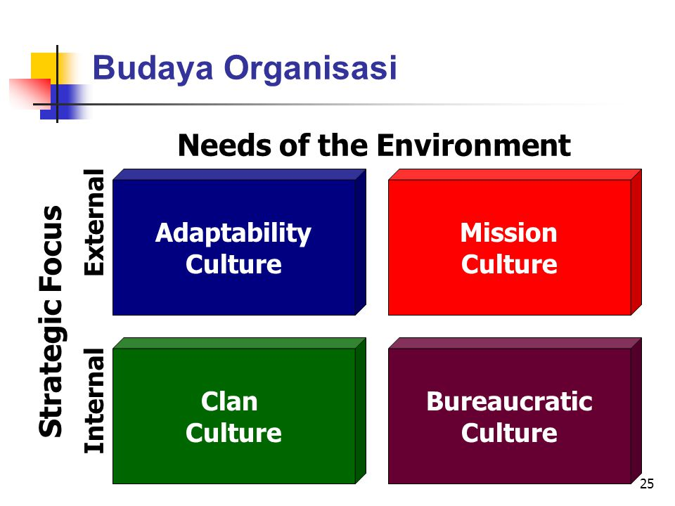25 Budaya Organisasi Needs of the Environment FlexibilityStability Adaptability Culture Mission Culture Clan Culture Bureaucratic Culture Strategic Focus InternalExternal