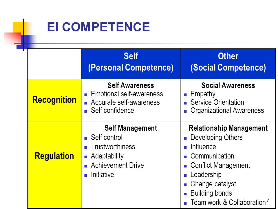 7 EI COMPETENCE Self (Personal Competence) Other (Social Competence) Recognition Self Awareness Emotional self-awareness Accurate self-awareness Self confidence Social Awareness Empathy Service Orientation Organizational Awareness Regulation Self Management Self control Trustworthiness Adaptability Achievement Drive Initiative Relationship Management Developing Others Influence Communication Conflict Management Leadership Change catalyst Building bonds Team work & Collaboration