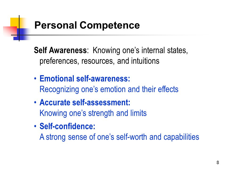 9 Self Management: Managing one's internal states, impulses, and resources) Self-Control : Keeping disruptive emotions and impulses in check Trustworthiness: Maintaining standard of honesty and integrity Adaptability: Flexibility in handling change Achievement Drive: Striving to improve or meet of standard of excellence Initiative: Readiness to act on opportunities Personal Competence