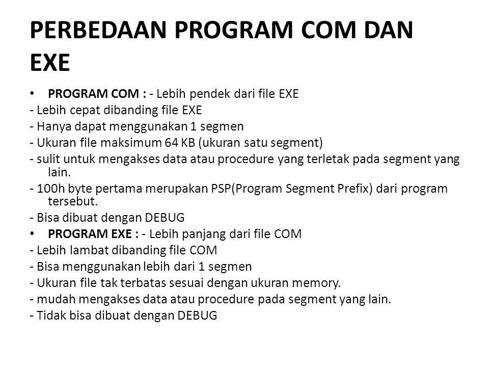 PERBEDAAN PROGRAM COM DAN EXE PROGRAM COM : - Lebih pendek dari file EXE - Lebih cepat dibanding file EXE - Hanya dapat menggunakan 1 segmen - Ukuran