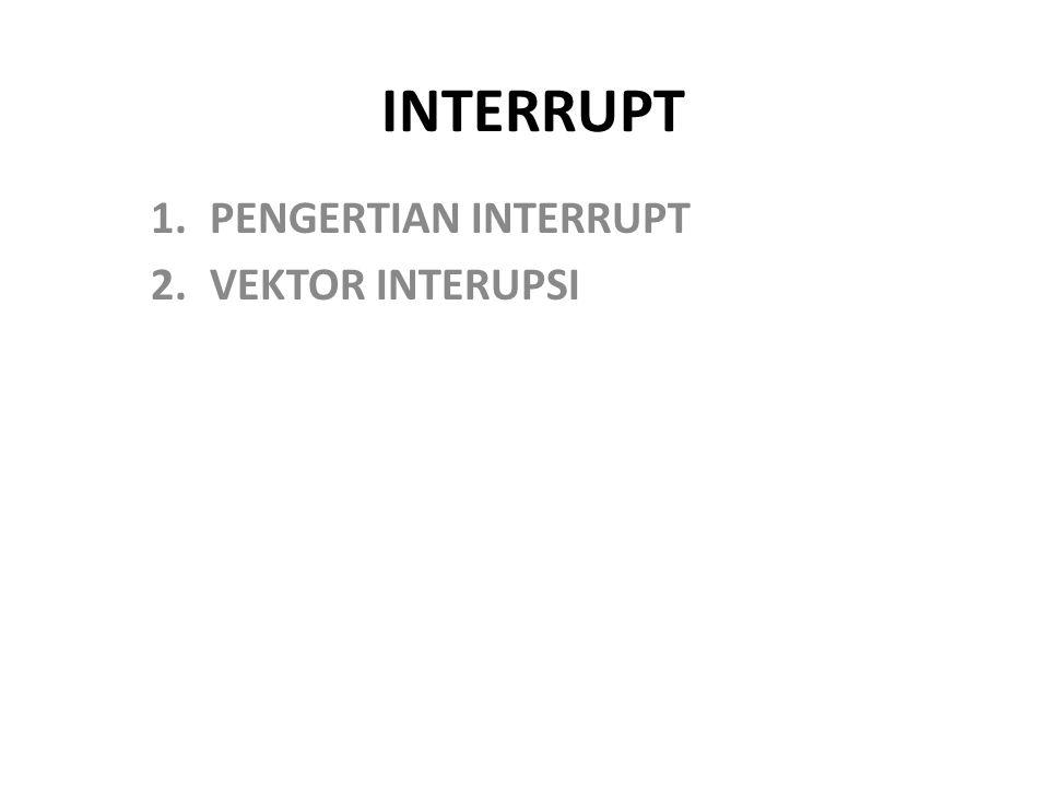 INTERRUPT 1.PENGERTIAN INTERRUPT 2.VEKTOR INTERUPSI