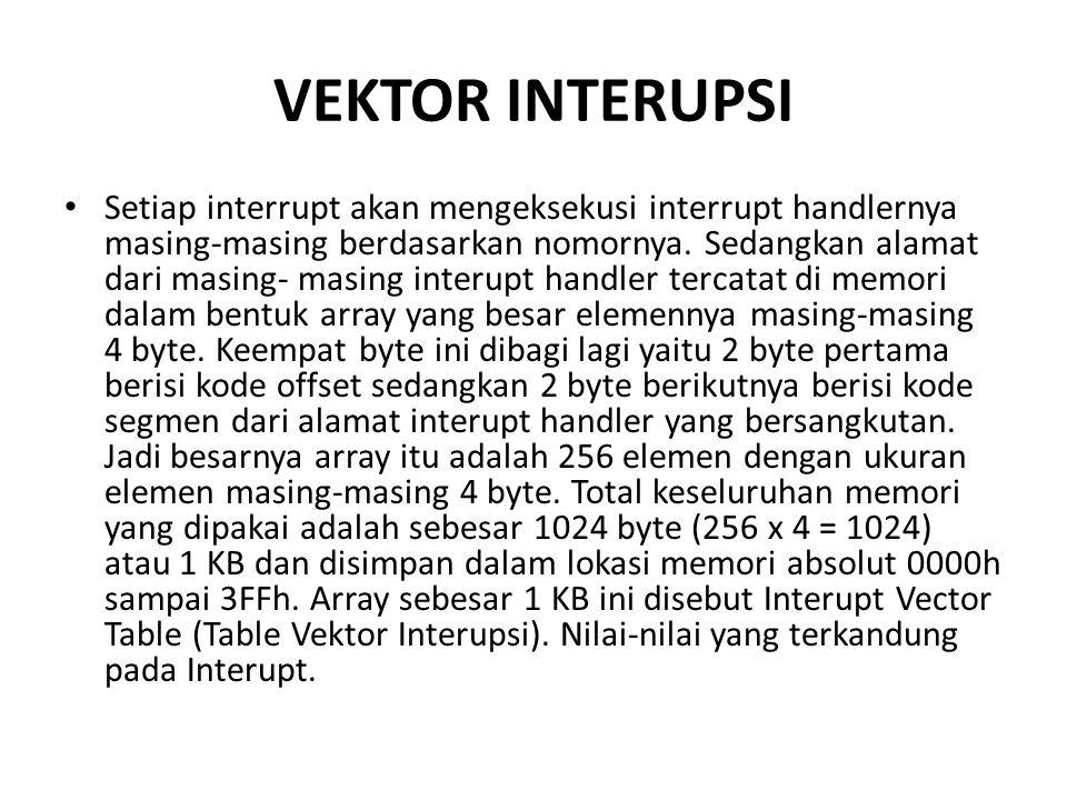VEKTOR INTERUPSI Setiap interrupt akan mengeksekusi interrupt handlernya masing-masing berdasarkan nomornya.