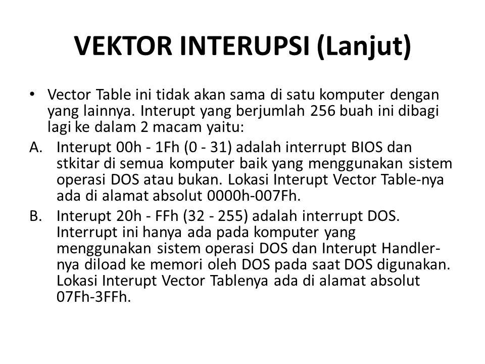 VEKTOR INTERUPSI (Lanjut) Vector Table ini tidak akan sama di satu komputer dengan yang lainnya.