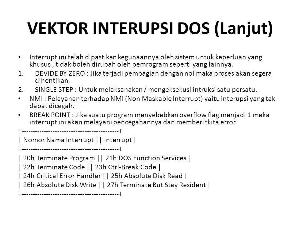 VEKTOR INTERUPSI DOS (Lanjut) Interrupt ini telah dipastikan kegunaannya oleh sistem untuk keperluan yang khusus, tidak boleh dirubah oleh pemrogram seperti yang lainnya.