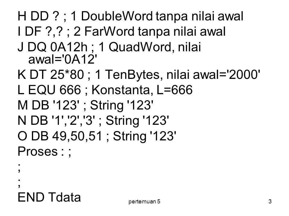 pertemuan 54 Pada baris pertama( A DB 4 ) kita mendefinisikan sebanyak satu byte untuk variabel dengan nama A , variabel ini diberi nilai 4 .