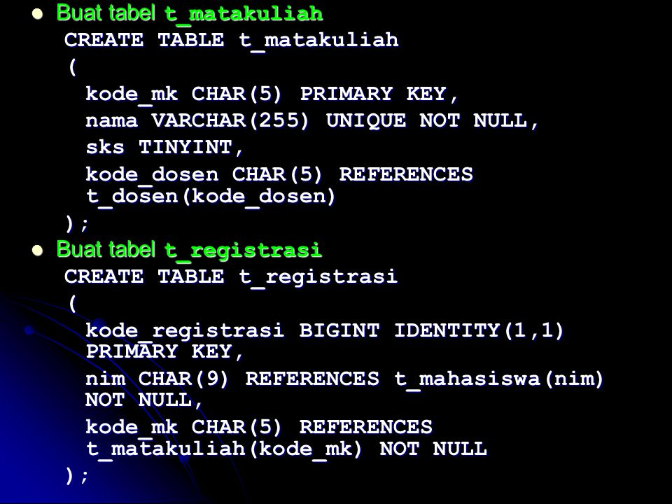 Buat tabel t_matakuliah Buat tabel t_matakuliah CREATE TABLE t_matakuliah ( kode_mk CHAR(5) PRIMARY KEY, nama VARCHAR(255) UNIQUE NOT NULL, sks TINYIN