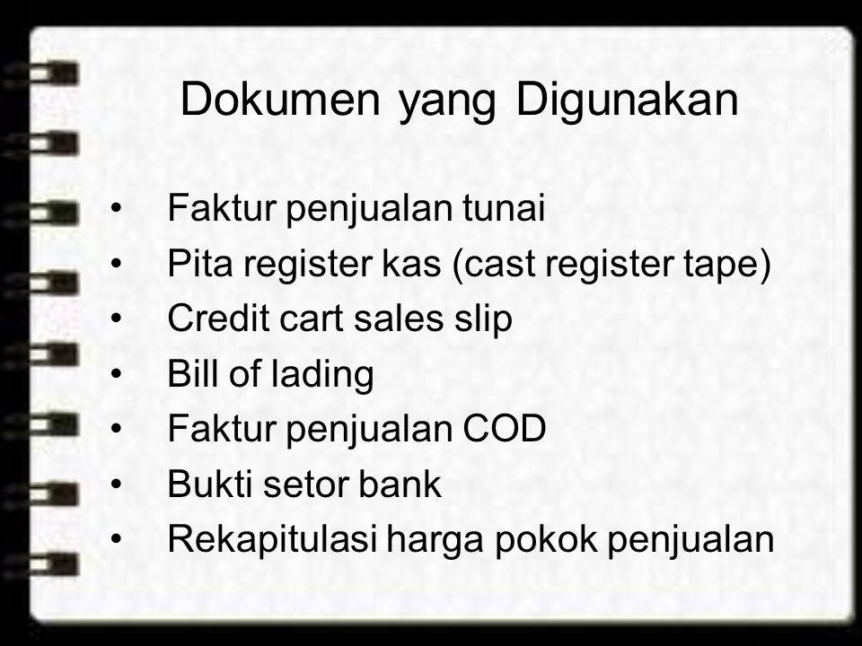 Catatan Akuntansi yang Digunakan Jurnal penjualan Jurnal penerimaan kas Jurnal umum kartu persediaan kartu gudang