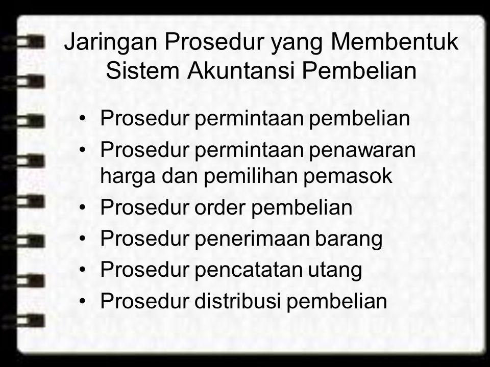 Jaringan Prosedur yang Membentuk Sistem Akuntansi Pembelian Prosedur permintaan pembelian Prosedur permintaan penawaran harga dan pemilihan pemasok Pr