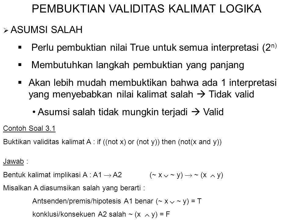 PEMBUKTIAN VALIDITAS KALIMAT LOGIKA  ASUMSI SALAH  Perlu pembuktian nilai True untuk semua interpretasi (2 n)  Membutuhkan langkah pembuktian yang