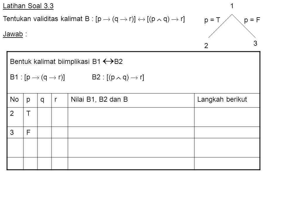 Latihan Soal 3.3 Tentukan validitas kalimat B : [p  (q  r)]  [(p  q)  r] Bentuk kalimat biimplikasi B1  B2 B1 : [p  (q  r)] B2 : [(p  q)  r]