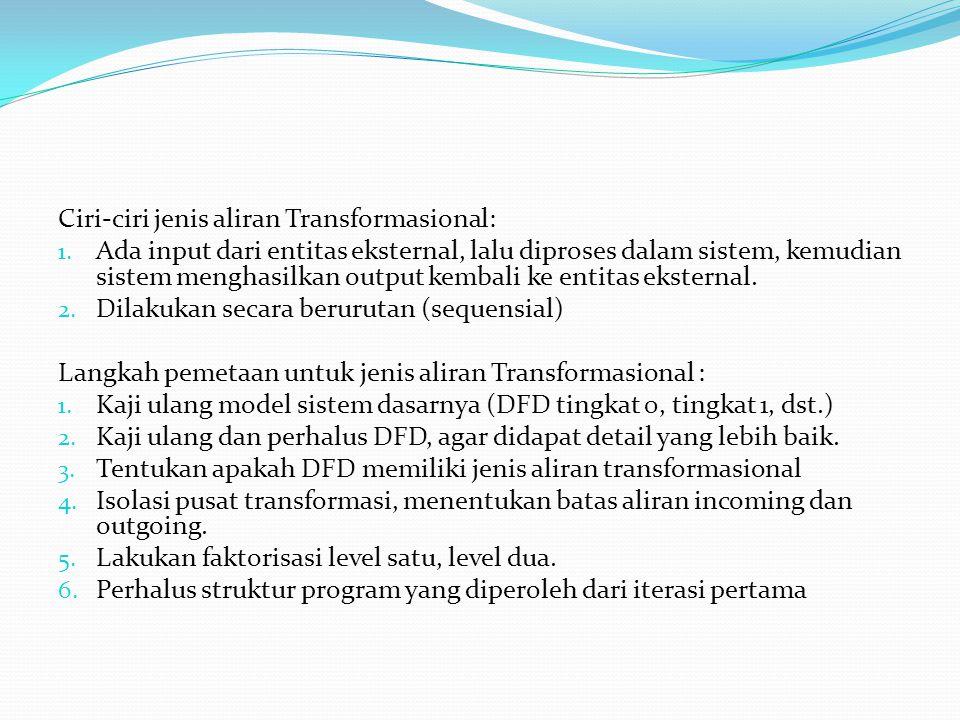 Ciri-ciri jenis aliran Transformasional: 1.
