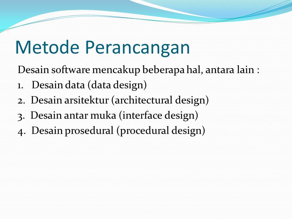 Metode Perancangan Desain software mencakup beberapa hal, antara lain : 1.