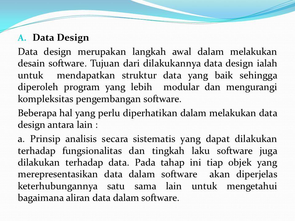 A.Data Design Data design merupakan langkah awal dalam melakukan desain software.