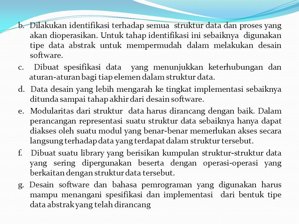 b.Dilakukan identifikasi terhadap semua struktur data dan proses yang akan dioperasikan.