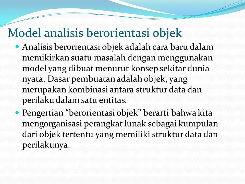 Model analisis berorientasi objek Analisis berorientasi objek adalah cara baru dalam memikirkan suatu masalah dengan menggunakan model yang dibuat menurut konsep sekitar dunia nyata.