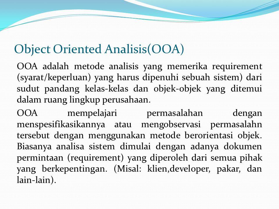 Object Oriented Analisis(OOA) OOA adalah metode analisis yang memerika requirement (syarat/keperluan) yang harus dipenuhi sebuah sistem) dari sudut pandang kelas-kelas dan objek-objek yang ditemui dalam ruang lingkup perusahaan.