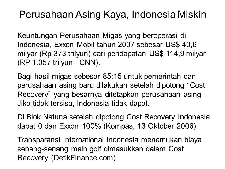 Perusahaan Asing Kaya, Indonesia Miskin Keuntungan Perusahaan Migas yang beroperasi di Indonesia, Exxon Mobil tahun 2007 sebesar US$ 40,6 milyar (Rp 373 trilyun) dari pendapatan US$ 114,9 milyar (RP 1.057 trilyun –CNN).
