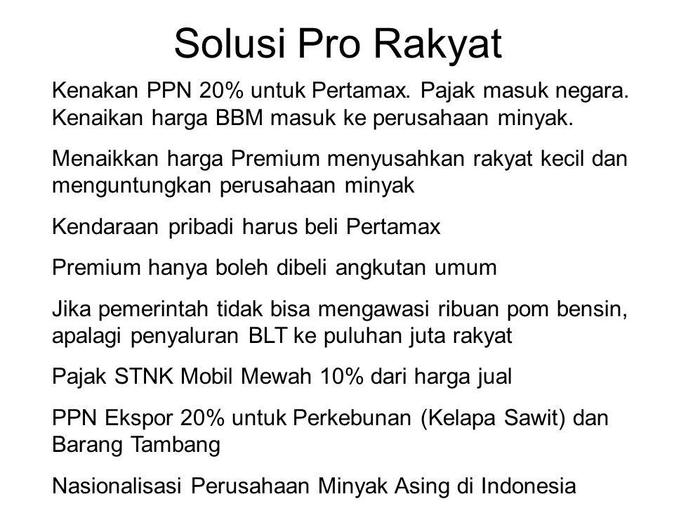 Solusi Pro Rakyat Kenakan PPN 20% untuk Pertamax. Pajak masuk negara. Kenaikan harga BBM masuk ke perusahaan minyak. Menaikkan harga Premium menyusahk