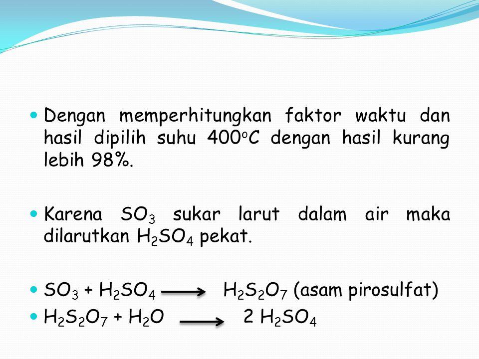 Dengan memperhitungkan faktor waktu dan hasil dipilih suhu 400 o C dengan hasil kurang lebih 98%. Karena SO 3 sukar larut dalam air maka dilarutkan H