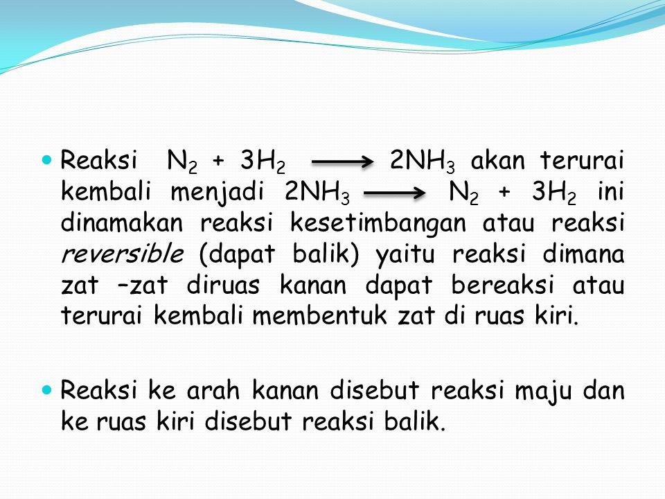 Reaksi N 2 + 3H 2 2NH 3 akan terurai kembali menjadi 2NH 3 N 2 + 3H 2 ini dinamakan reaksi kesetimbangan atau reaksi reversible (dapat balik) yaitu re
