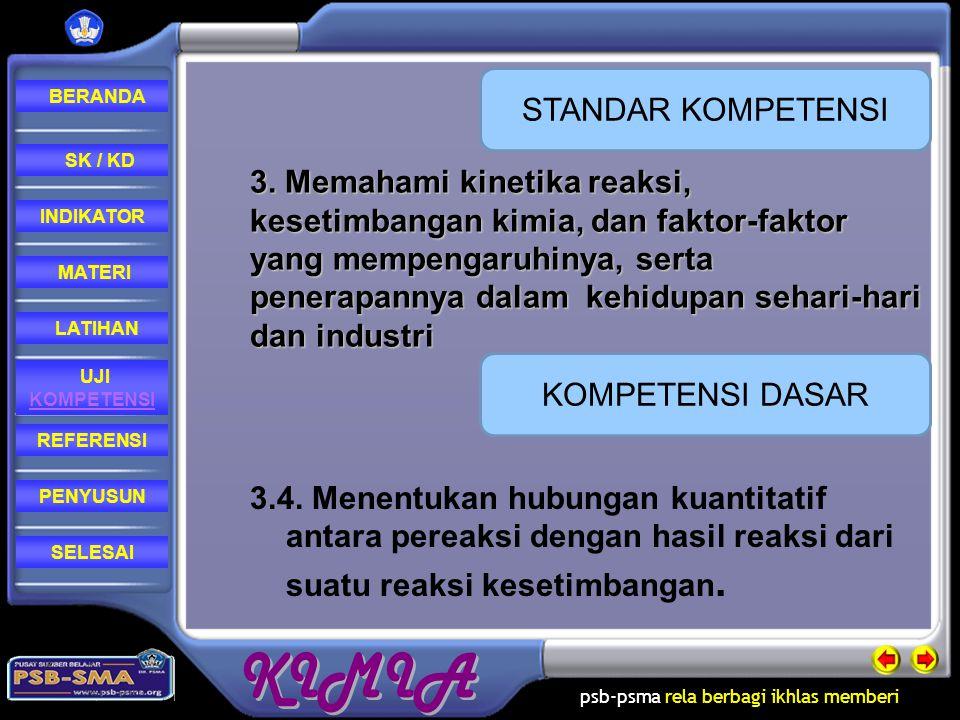 psb-psma rela berbagi ikhlas memberi REFERENSI LATIHAN MATERI PENYUSUN INDIKATOR SK / KD UJI KOMPETENSI BERANDA SELESAIREFERENSI 1.Sudarmo, Unggul.2006.Kimia XI IPA.