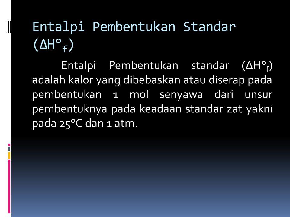 Entalpi Pembentukan Standar (ΔH° f ) Entalpi Pembentukan standar (ΔH° f ) adalah kalor yang dibebaskan atau diserap pada pembentukan 1 mol senyawa dari unsur pembentuknya pada keadaan standar zat yakni pada 25°C dan 1 atm.
