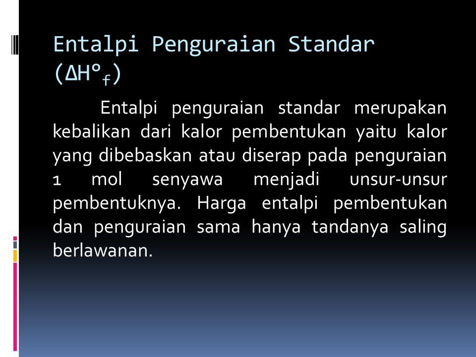 Entalpi Penguraian Standar (ΔH° f ) Entalpi penguraian standar merupakan kebalikan dari kalor pembentukan yaitu kalor yang dibebaskan atau diserap pada penguraian 1 mol senyawa menjadi unsur-unsur pembentuknya.