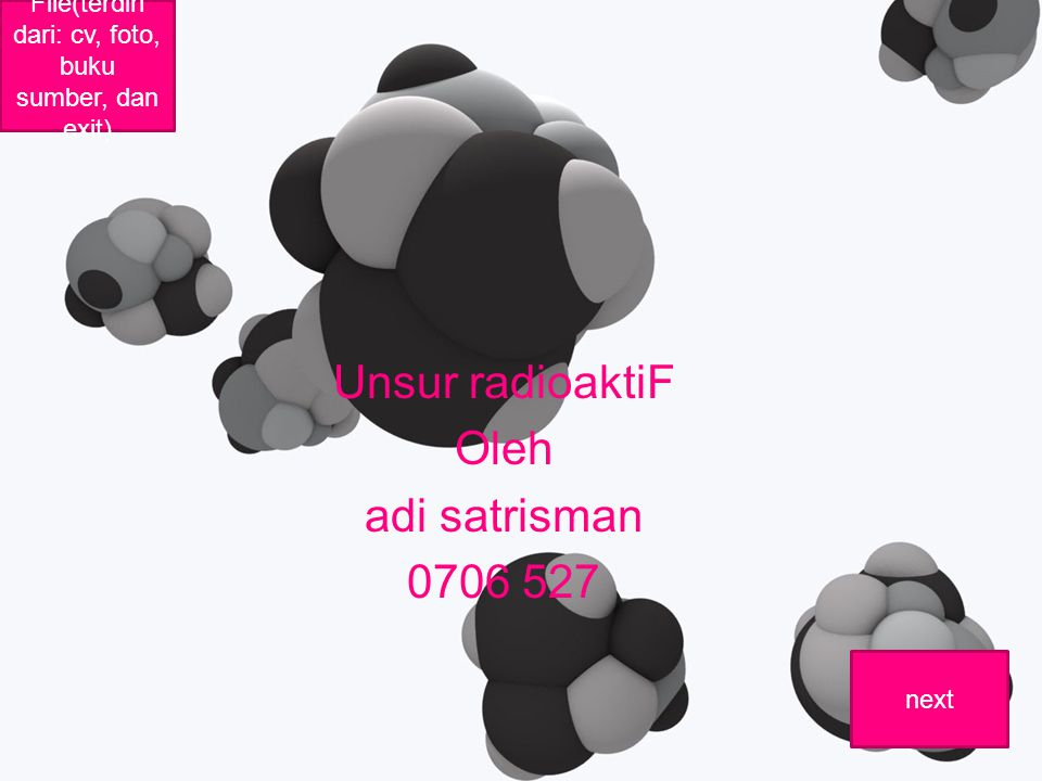 Unsur radioaktiF Oleh adi satrisman 0706 527 File(terdiri dari: cv, foto, buku sumber, dan exit) next