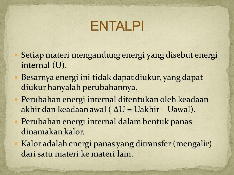 Setiap materi mengandung energi yang disebut energi internal (U). Besarnya energi ini tidak dapat diukur, yang dapat diukur hanyalah perubahannya. Per