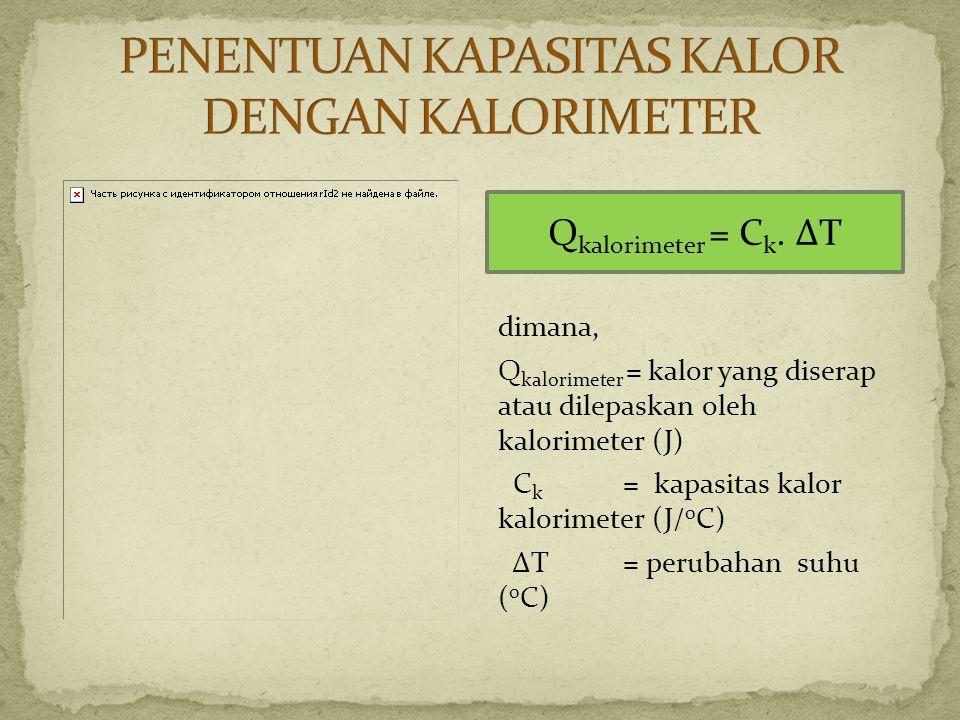 dimana, Q kalorimeter = kalor yang diserap atau dilepaskan oleh kalorimeter (J) C k = kapasitas kalor kalorimeter (J/ 0 C) ΔT = perubahan suhu ( 0 C)