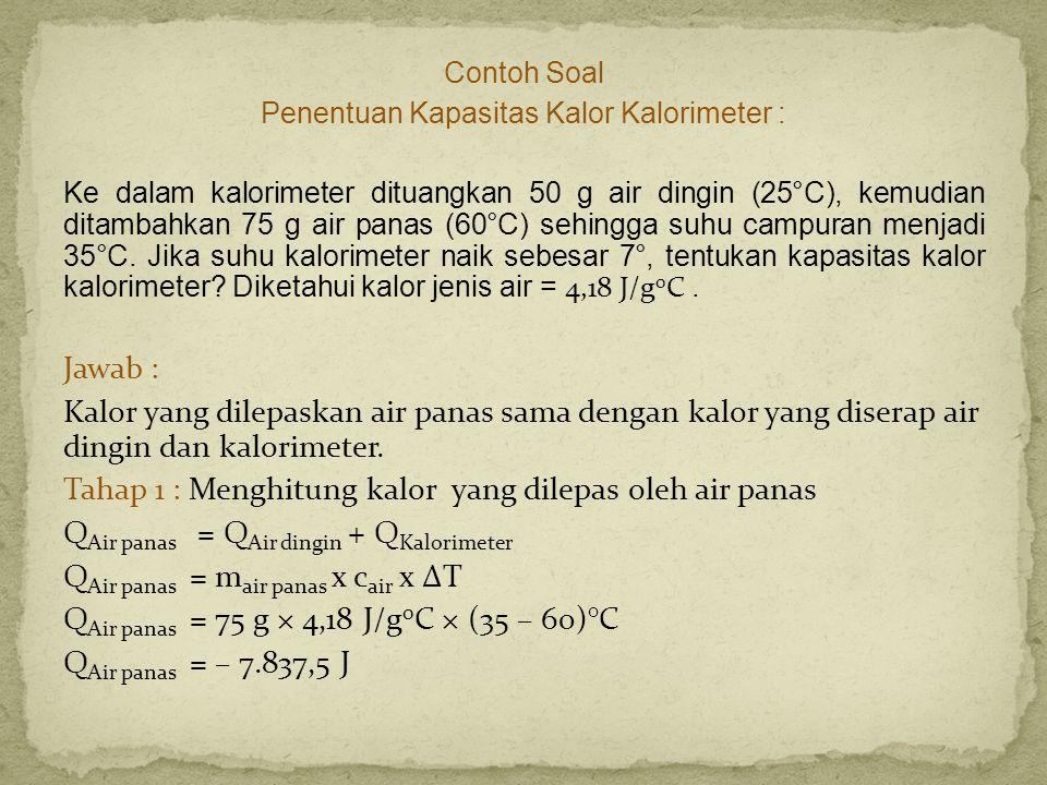 Contoh Soal Penentuan Kapasitas Kalor Kalorimeter : Ke dalam kalorimeter dituangkan 50 g air dingin (25°C), kemudian ditambahkan 75 g air panas (60°C)