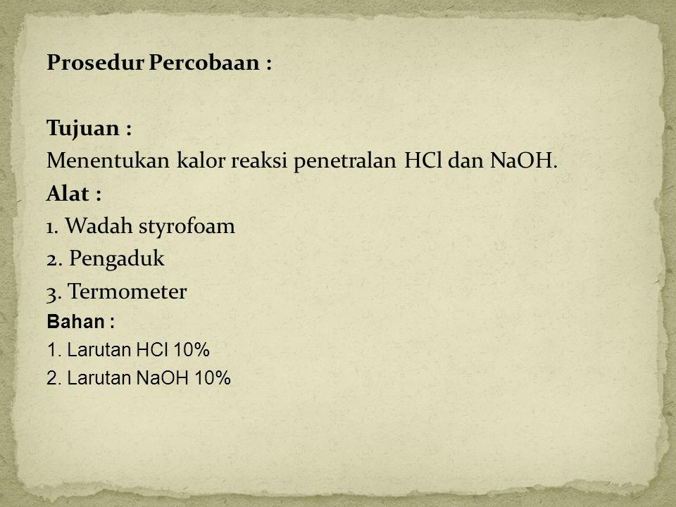 Prosedur Percobaan : Tujuan : Menentukan kalor reaksi penetralan HCl dan NaOH. Alat : 1. Wadah styrofoam 2. Pengaduk 3. Termometer Bahan : 1. Larutan