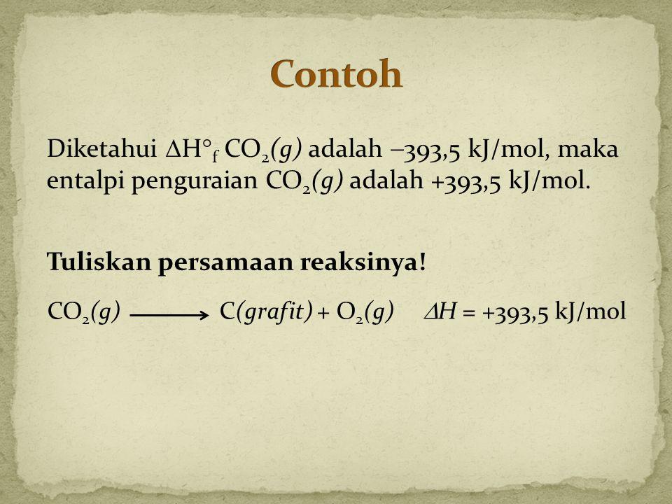 Tuliskan persamaan reaksinya! Diketahui  H  f CO 2 (g) adalah  393,5 kJ/mol, maka entalpi penguraian CO 2 (g) adalah +393,5 kJ/mol. CO 2 (g)C(grafi